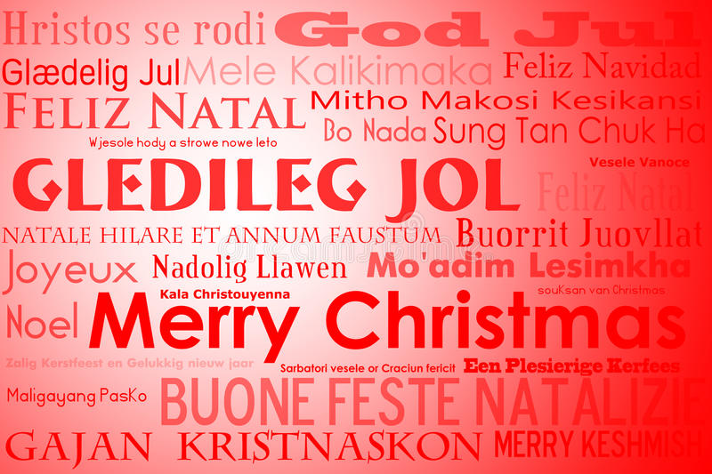 Merry Christmas. A merry christmas tag cloud with many different languages saying merry christmas stock illustration