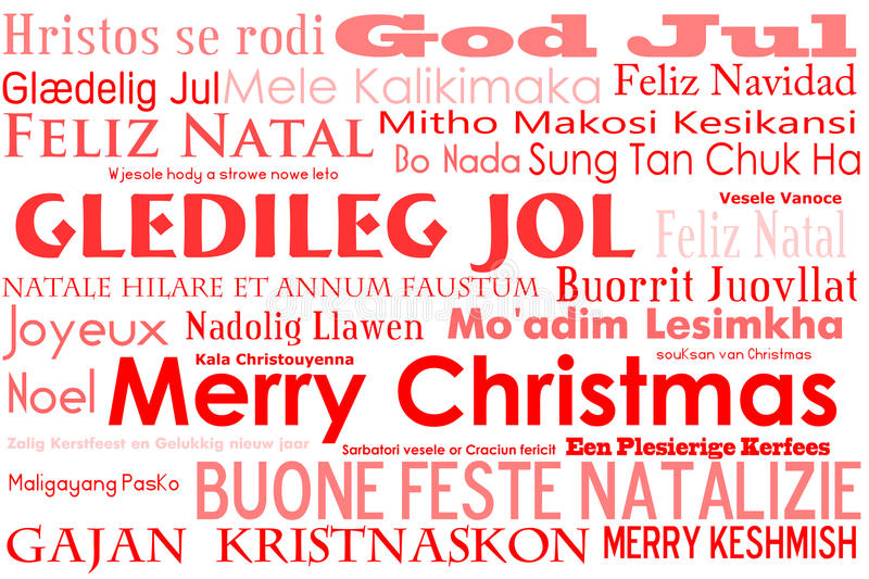 Merry Christmas. A merry christmas tag cloud with many different languages saying merry christmas royalty free illustration