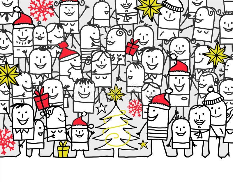 Merry Christmas. Hand drawn cartoon greeting card - merry Christmas vector illustration