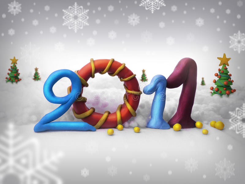 Merry christmas 2011. Logo 2011 merry christmas with plasticine, snow and white background royalty free stock photo
