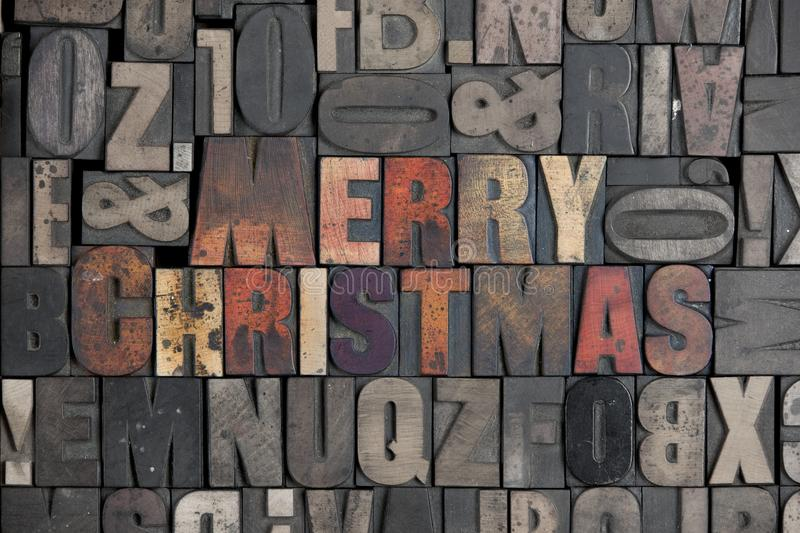 Merry Christmas. The words Merry Christmas written in very old letterpress type royalty free stock images