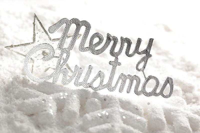 Merry Christmas. On snow,Christmas decoration stock photo