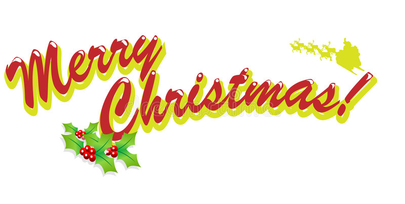 Merry Christmas. Text easy to resize or change color vector illustration