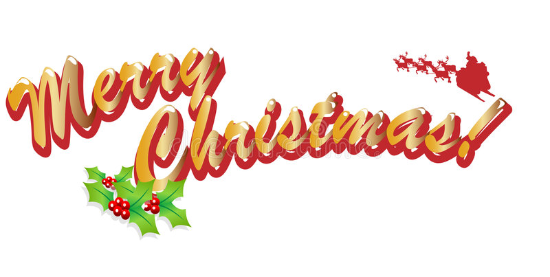 Merry Christmas. Text easy to resize or change color royalty free illustration