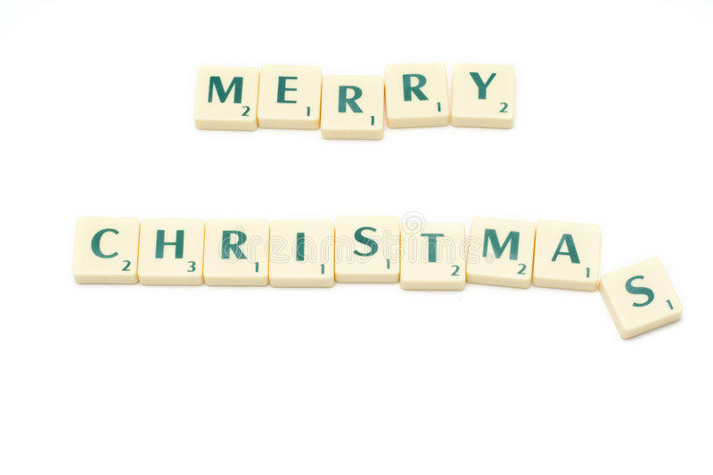 Merry Christmas. Letters isolated on white. scrabble stock photo