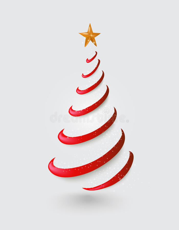 Merry Christmas abstract red tree, golden star EPS stock photo