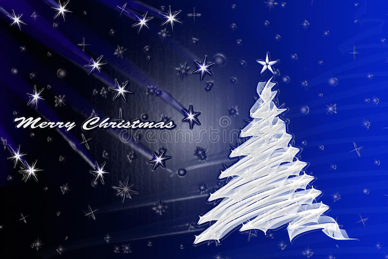 Merry Christmas. Abstract christmas tree on blue gradient background with shooting stars and Merry christmas text - plastic effect stock photo