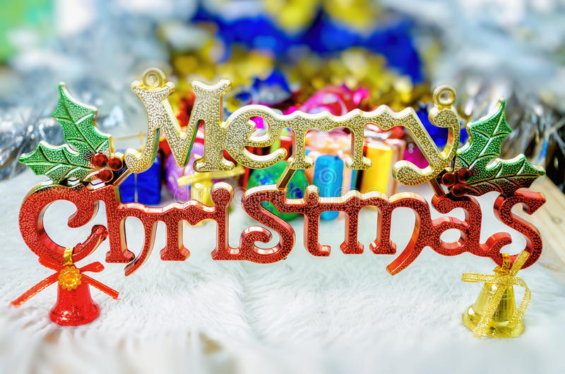 Merry Christmas. Against fancy decoration background stock photos