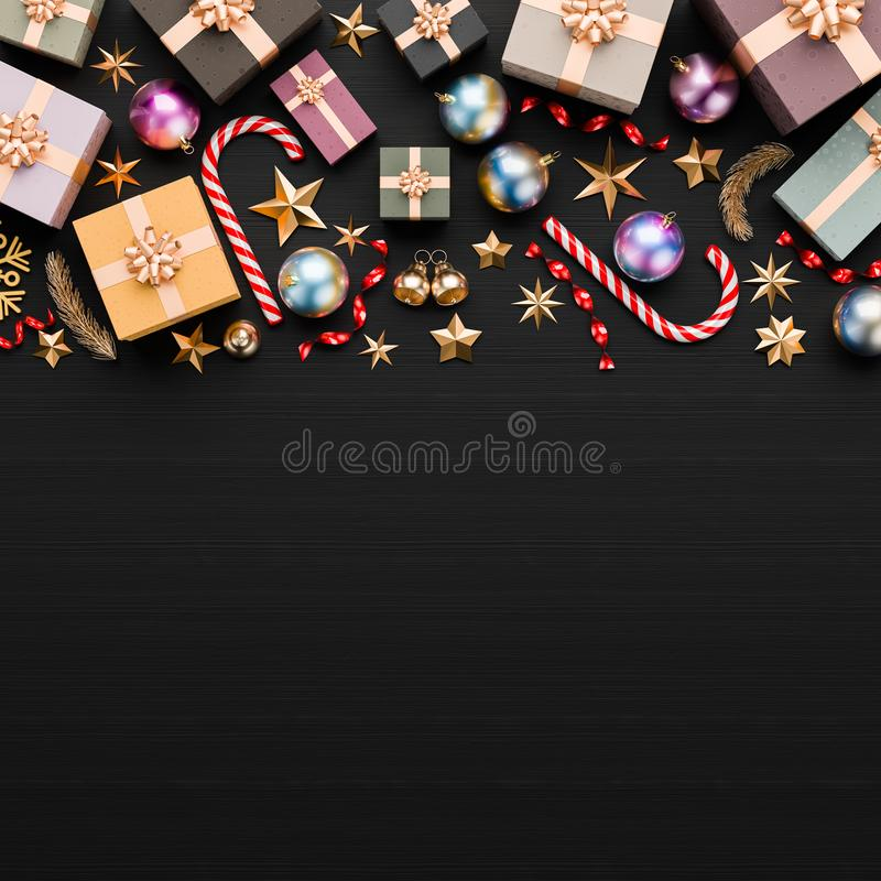 Free Merry Christmas And Happy New Year Background. Christmas Background Design With Ornaments On Black Background. 3D Illustration Royalty Free Stock Image - 160021046
