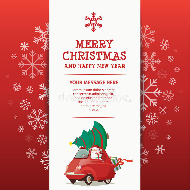 Free Merry Christmas And Happy New Year Rad Car Stock Images - 64031214