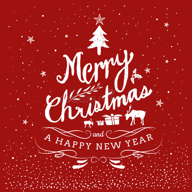 Free Merry Christmas And Happy New Year Typography Hand Drawn Stock Photos - 76934333