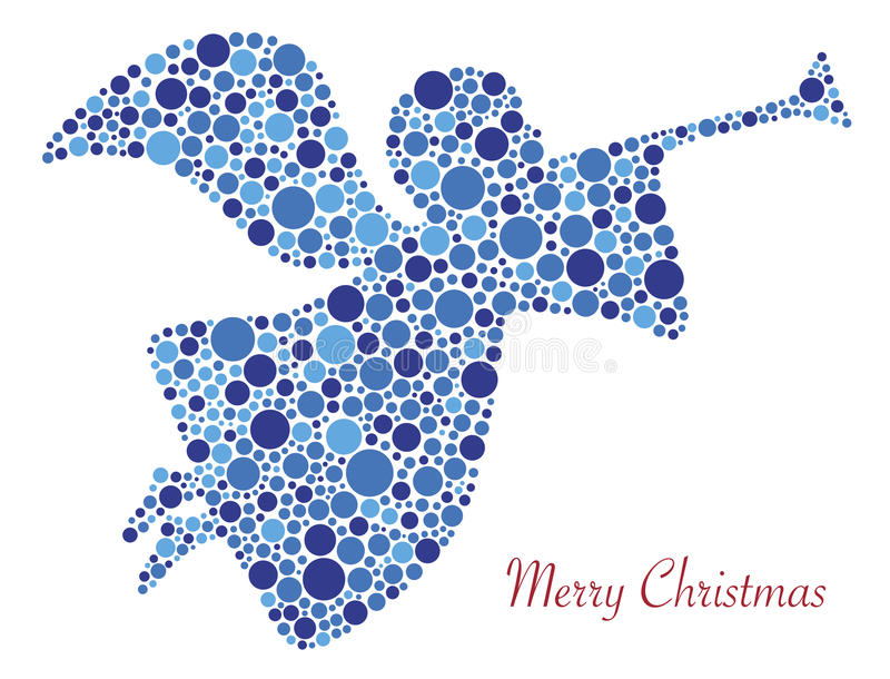 Merry Christmas Angel Silhouette in Dots. Christmas Angel Trumpet Silhouette in Polka Dots with Merry Christmas Text Illustration royalty free illustration