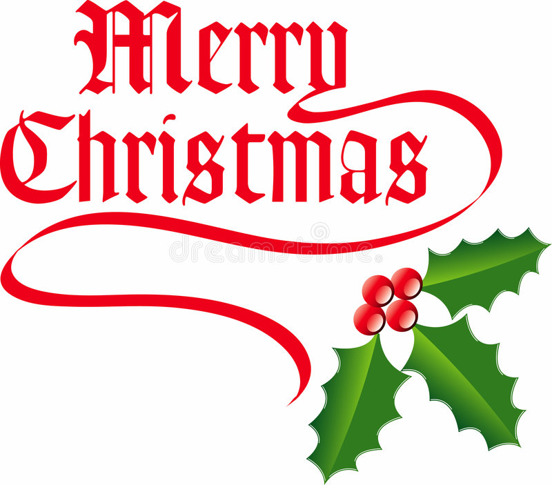 Merry Christmas background. Vector illustration of a Christmas background with the words Merry Christmas in stylised red lettering and mistletoe vector illustration