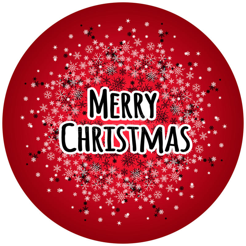 Merry Christmas background with black and white snowflakes. stock images