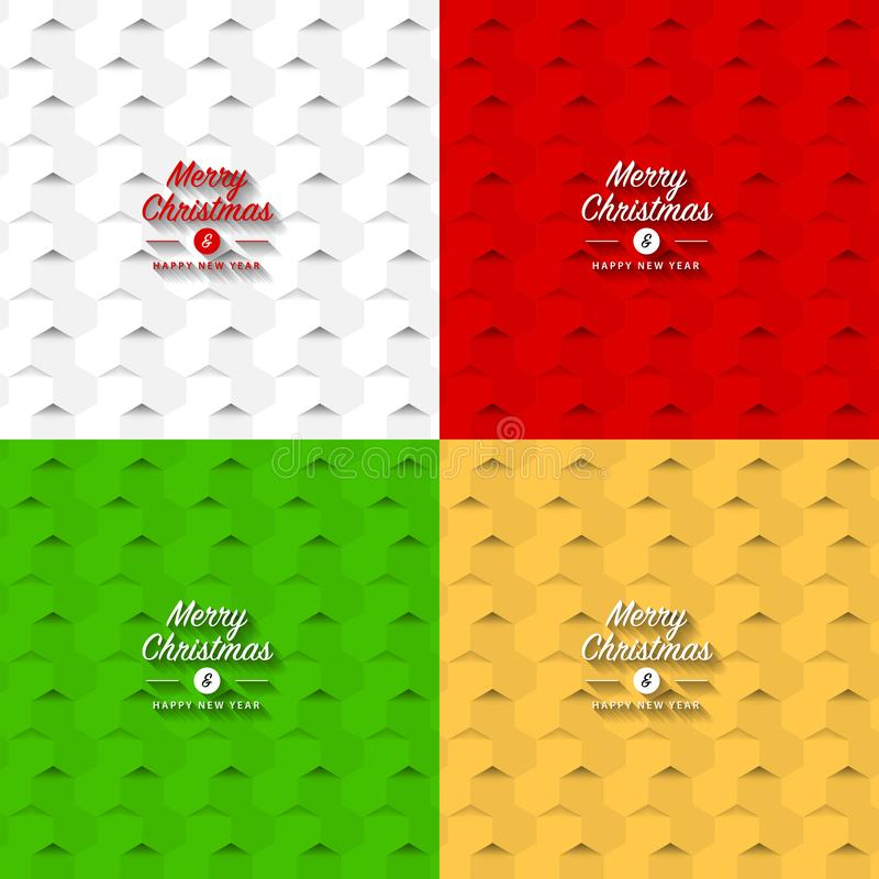 Merry Christmas background. Creative hexagonal pattern. Vector royalty free illustration