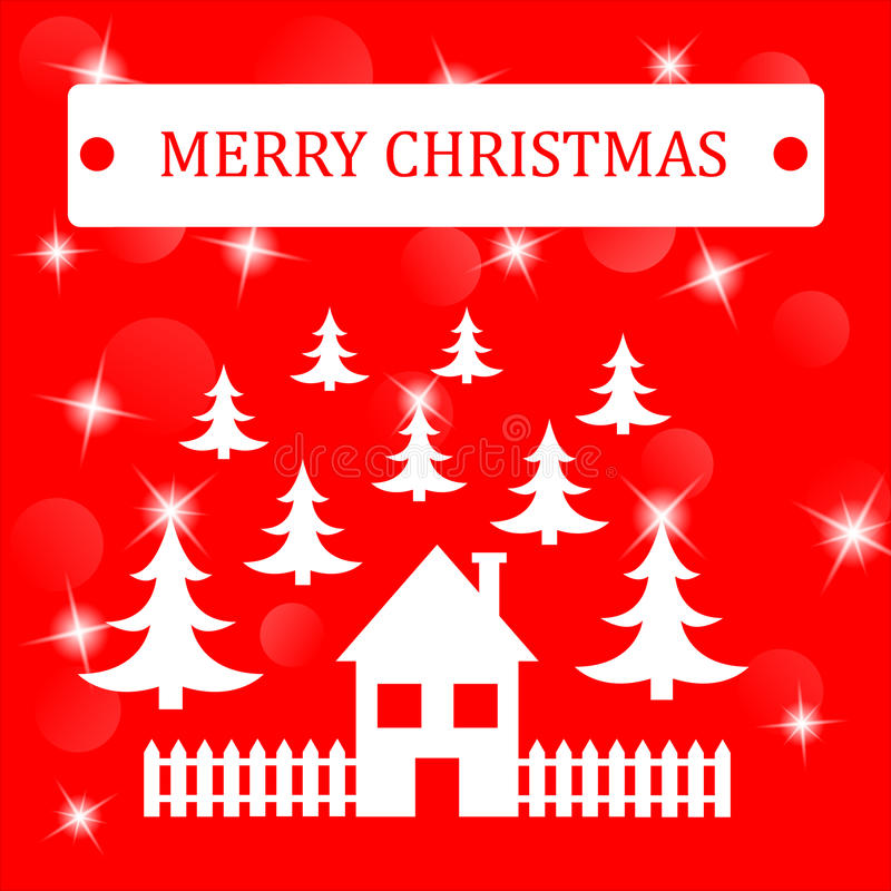 Merry Christmas Background with house and threes and stars. royalty free stock images