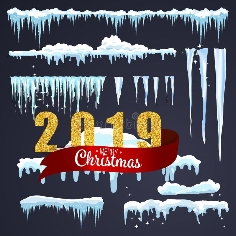 2019 Merry Christmas background. Isolated snow caps set on menu bar and buttons. New year decoration kit for website. Snowflakes a royalty free illustration