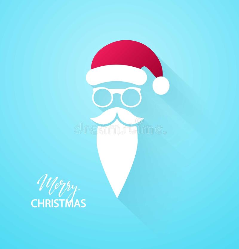 Merry Christmas background. Santa Claus moustache, beard and glasses on blue background. Vector illustration.  royalty free illustration