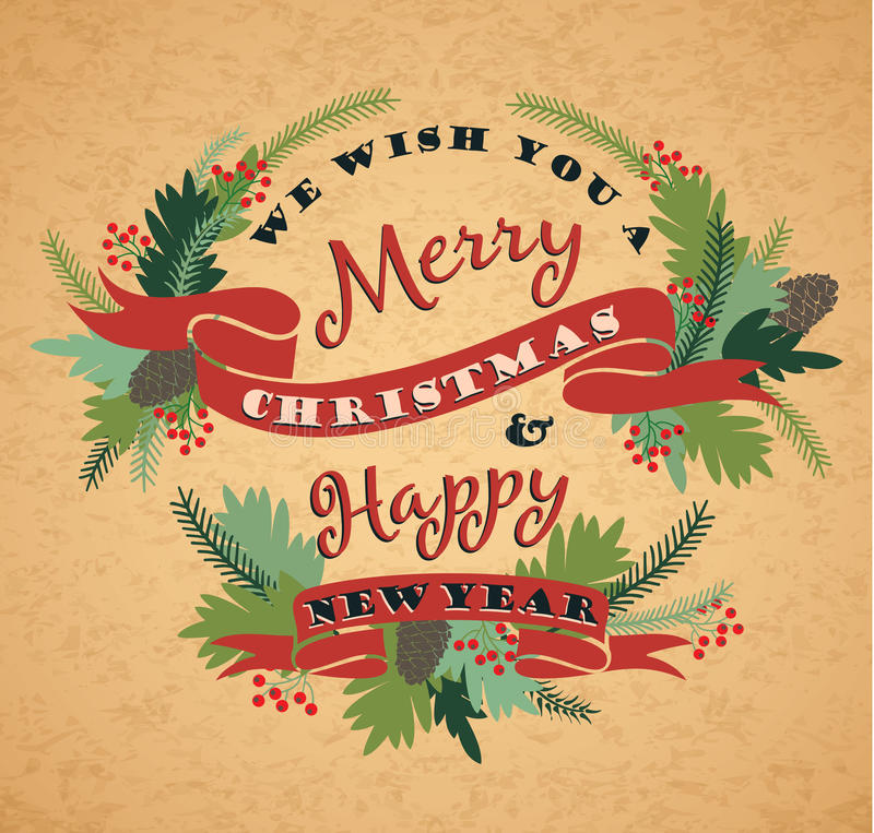 Merry Christmas background with Typography. royalty free illustration