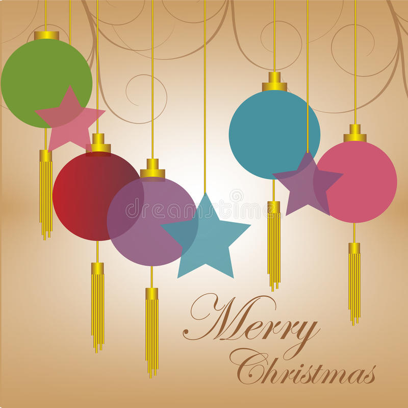 Merry Christmas Background. Vector illustration of Christmas balls, stars, and ornaments on a light brown background with merry Christmas words royalty free illustration