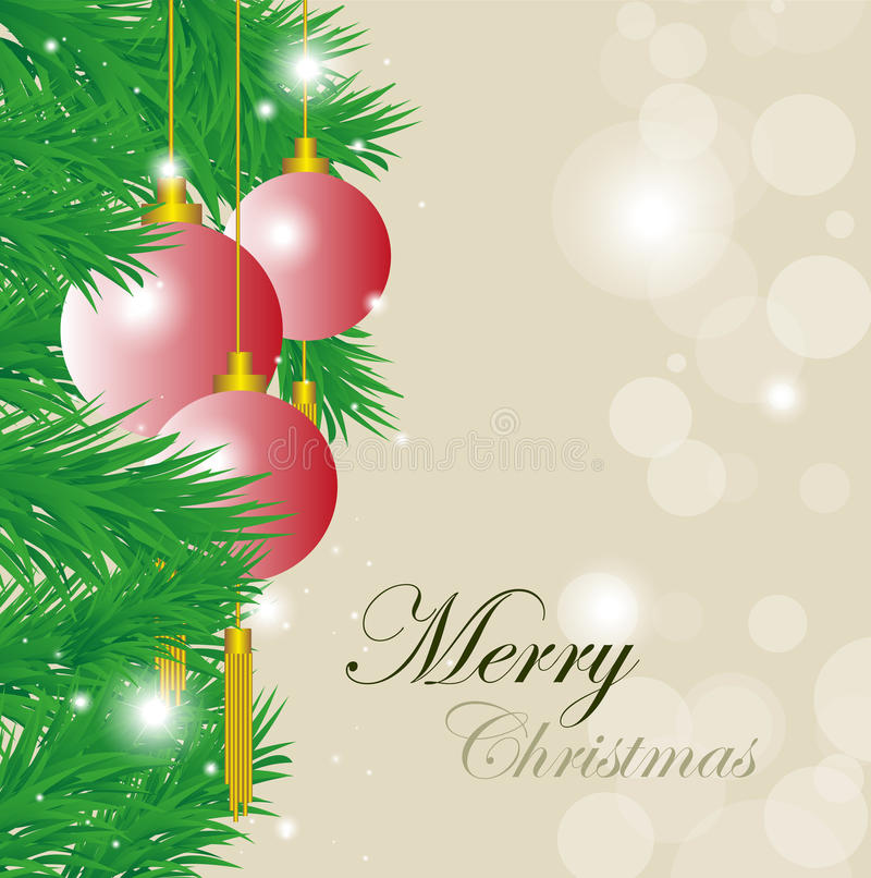 Merry Christmas Background. Vector illustration of Christmas balls, stars, and ornaments on a light brown background with merry Christmas words vector illustration