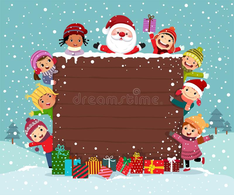 Merry Christmas Background wooden board with group of kids and Santa Claus stock illustration