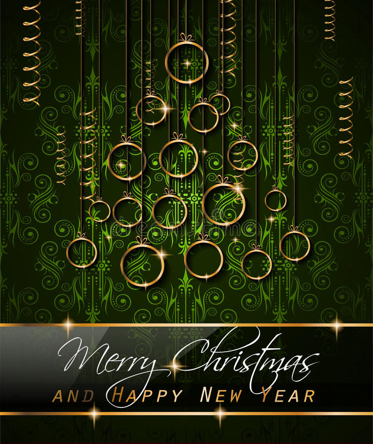 Merry Christmas Background for your seasonal invitations. And new year flyers with colorful baubles and a lot of xmas design elements vector illustration