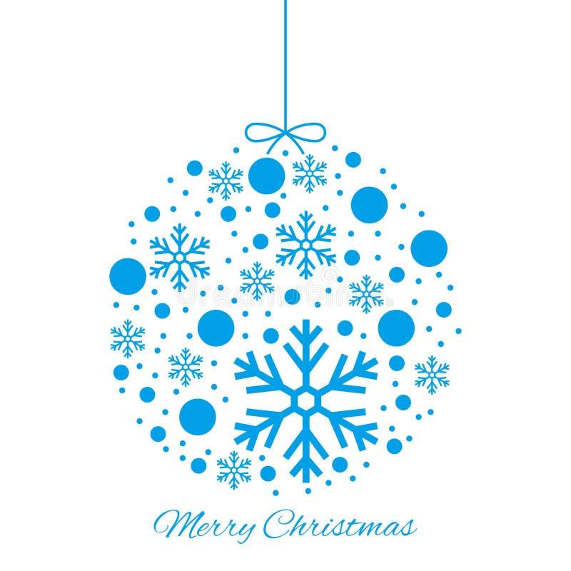 Merry Christmas ball blue ornament. On white background stock illustration