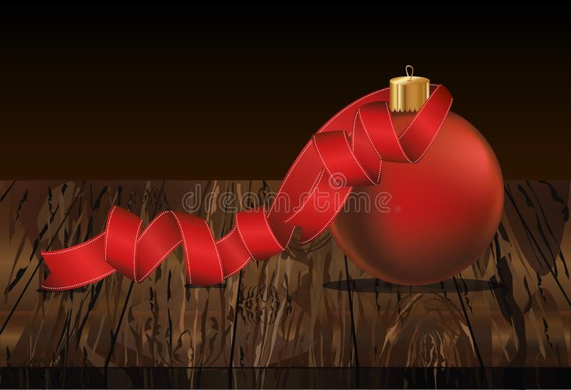 Merry Christmas ball with red ribbon. Banner with copy space. Vector on wooden background. Greeting card For a holiday or a party.  stock illustration