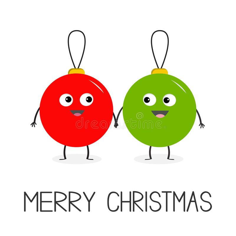 Merry Christmas ball toy icon set. Love couple looking on each other, holding hands. Funny smiling face head. Cute cartoon charact. Er. Red and green. White royalty free illustration