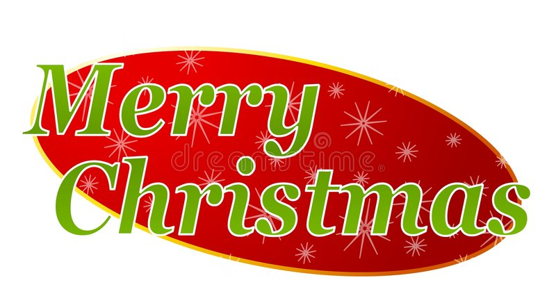 Merry Christmas Banner 2. A clip art illustration featuring 'Merry Christmas' for use as a banner, header, etc stock illustration