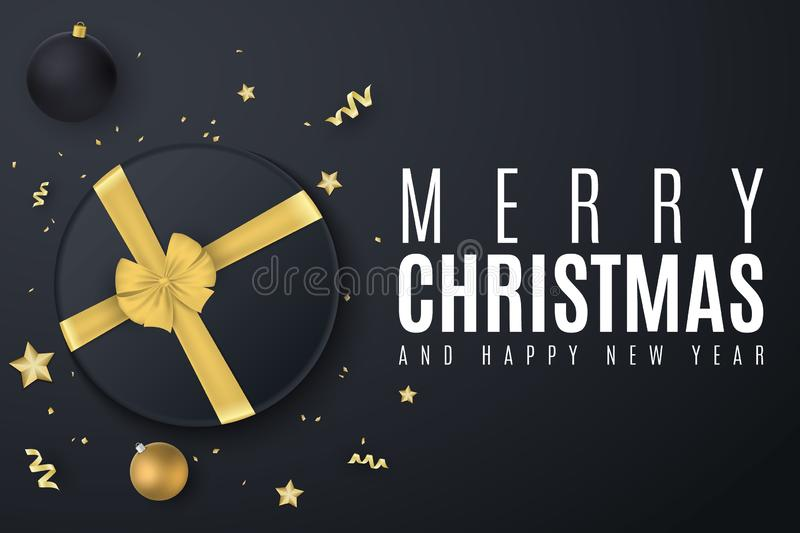 Merry Christmas banner. Black gift box with a gold ribbon. Christmas balls. Confetti with serpentine. Golden stars. Scattered toys stock illustration
