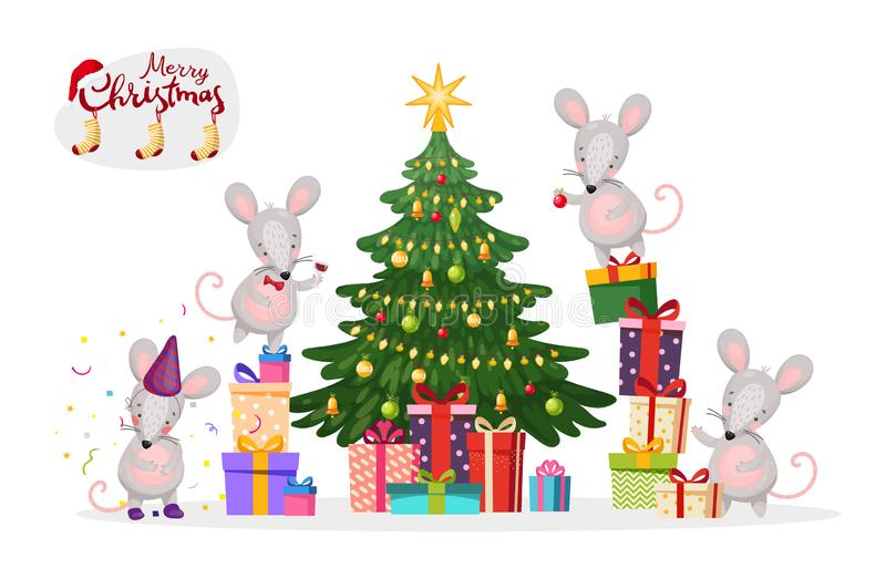 Merry christmas banner. A family of mice decorates a Christmas tree. New Year s mice and rats. Flat vector isolated on royalty free illustration