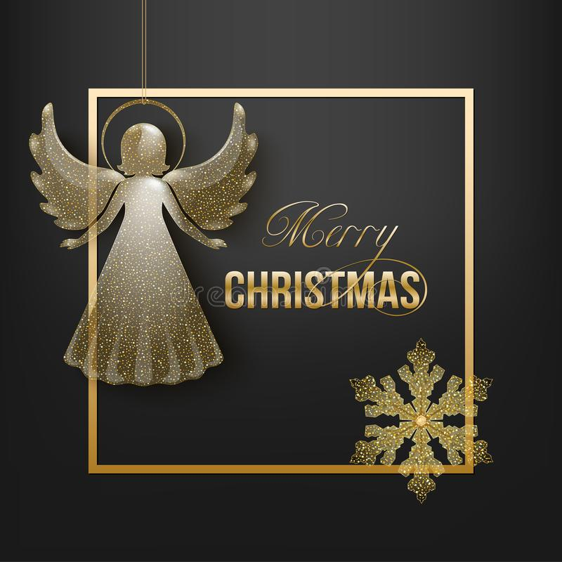Christmas card with snowflake and angel royalty free illustration