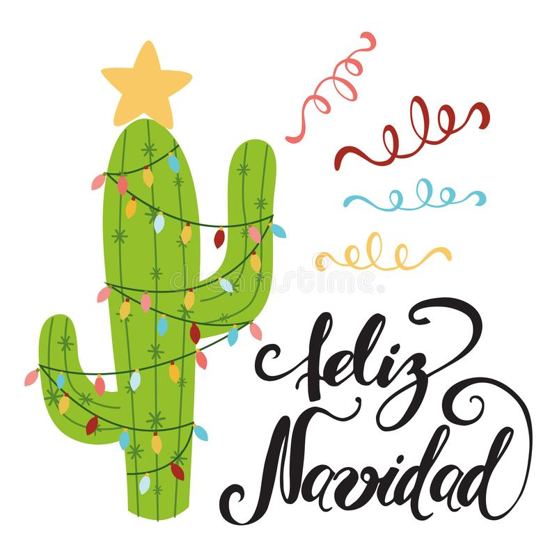 Merry Christmas banner. Happy cactus in a Christmas royalty free illustration