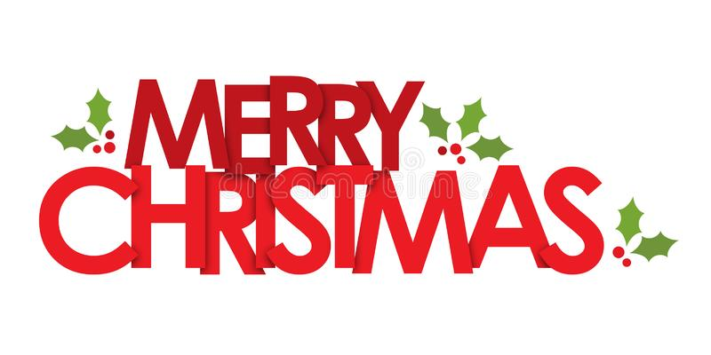 MERRY CHRISTMAS banner with holly motifs stock photo