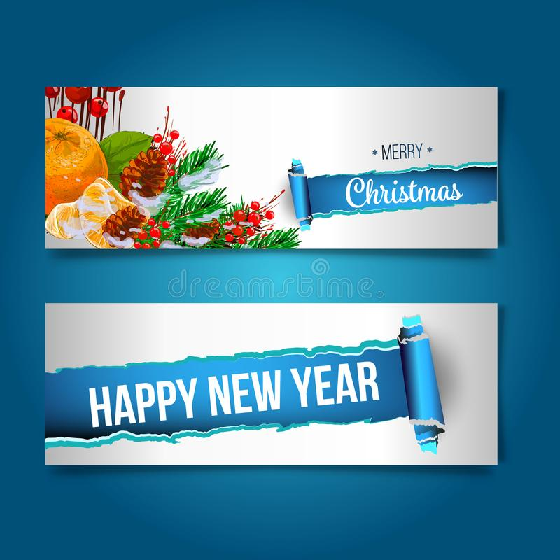 Merry Christmas banner in the realistic torn paper design. Red detailed paper scroll. Christmas greeting background. royalty free illustration