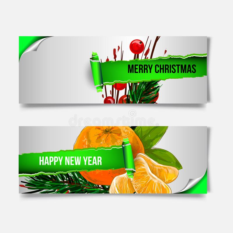 Merry Christmas banner in the realistic torn paper design. Red detailed paper scroll. Christmas greeting background. vector illustration