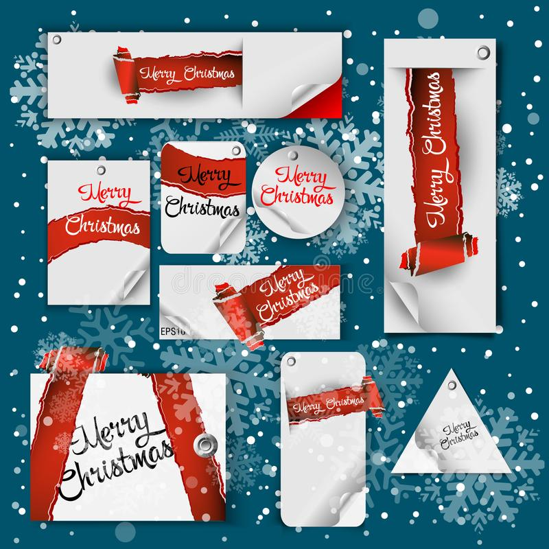 Merry Christmas banner in the realistic torn paper design. Red and green detailed paper scroll. Christmas greeting background. Vec stock illustration