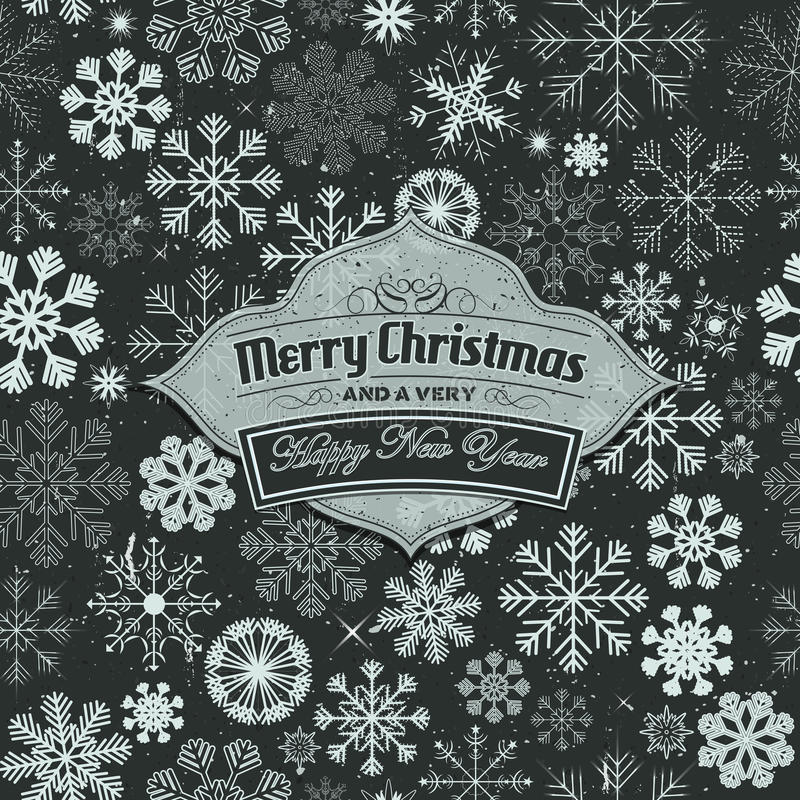 Merry Christmas Banner On Seamless Snowflakes Background royalty free illustration