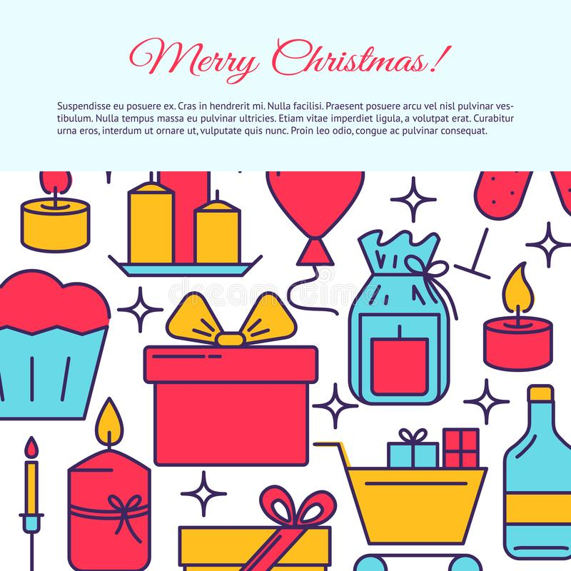 Merry Christmas banner template in line style. With place for text. Bright poster with holiday celebration symbols including candles, presents and wine. Vector vector illustration
