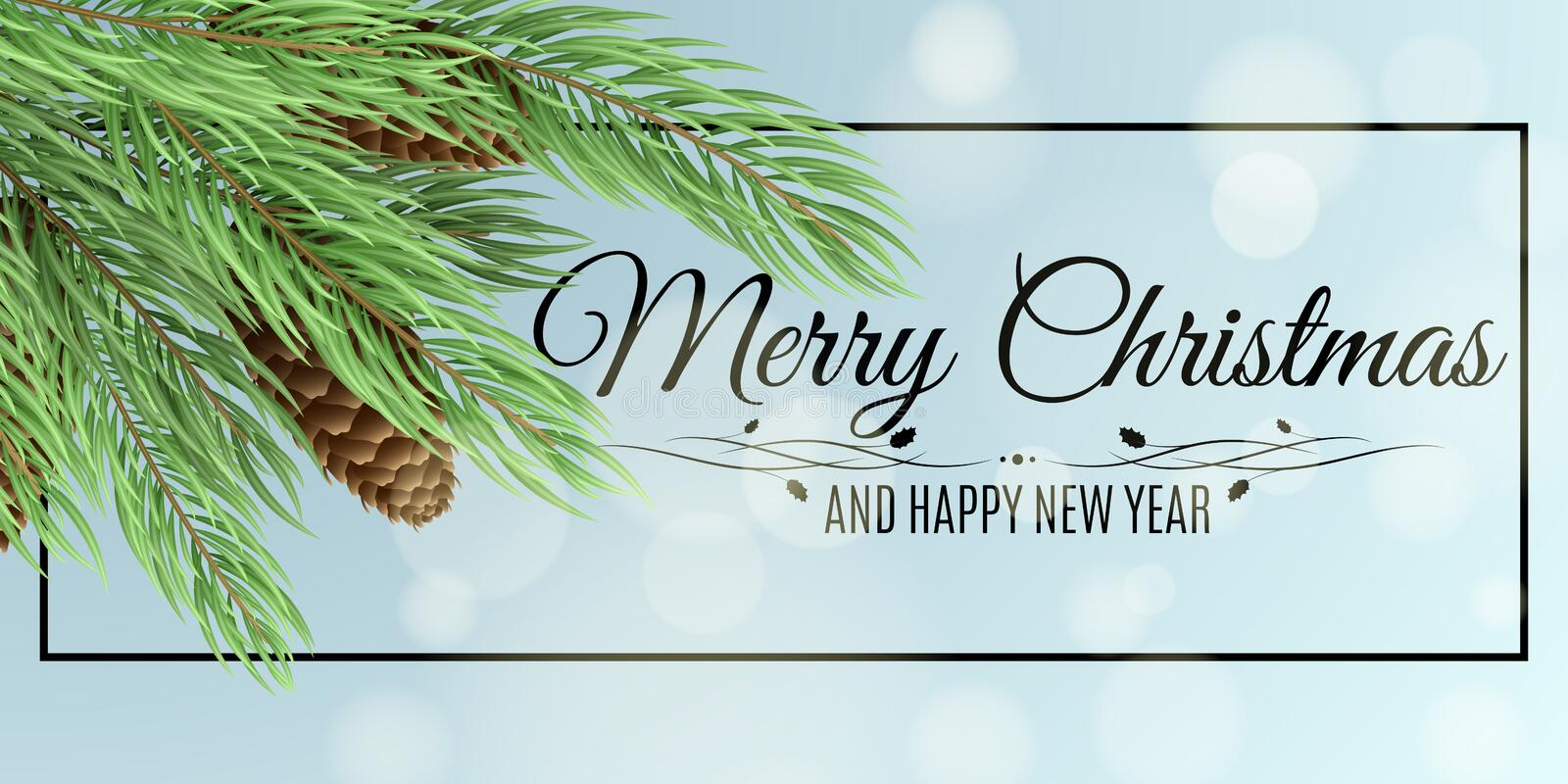Merry Christmas banner. Christmas tree with cones. Glares bokeh. Vector illustration. Black frame with text. Winter background for vector illustration