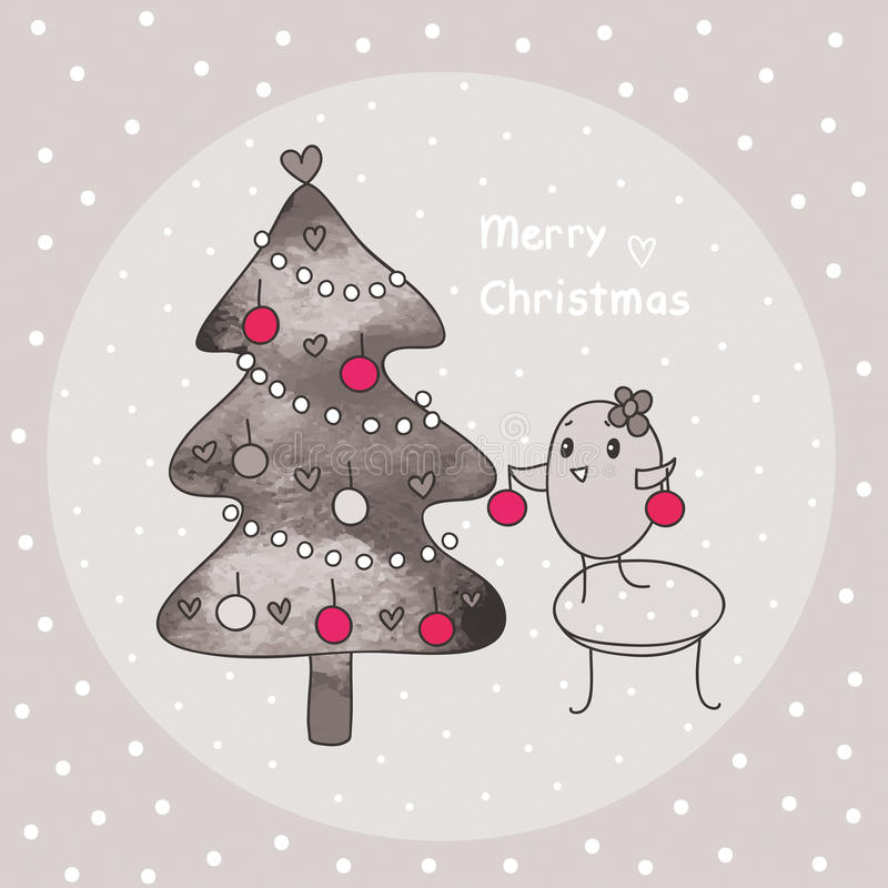 Merry Christmas And Bird Royalty Free Stock Photography