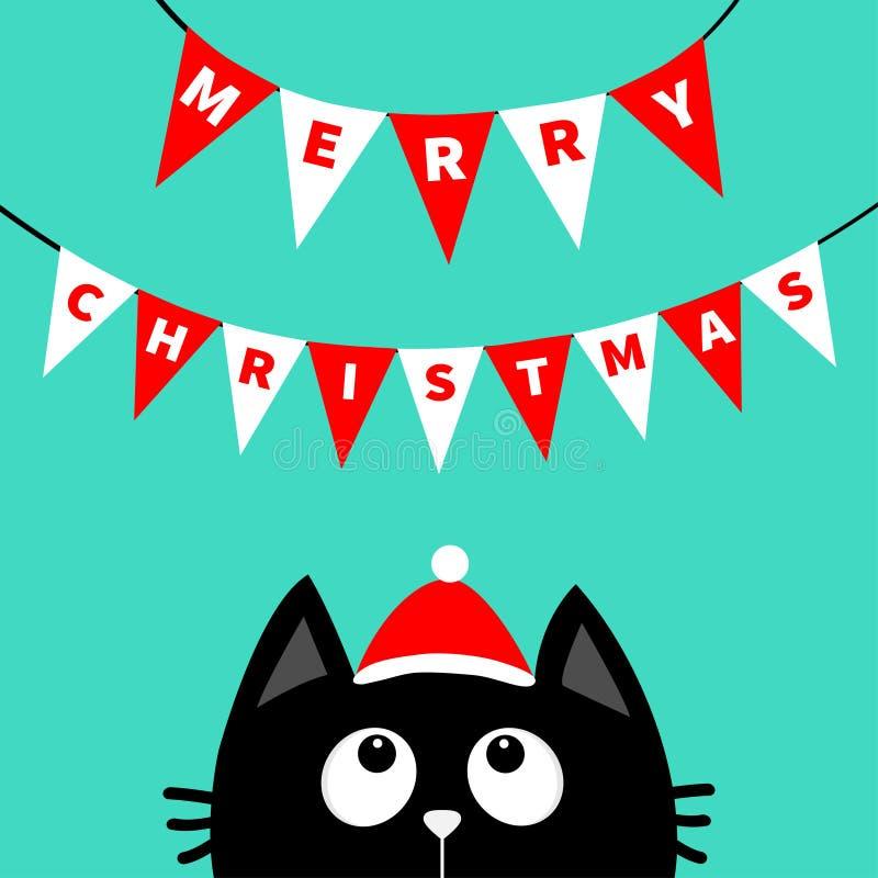 Black Cat With Santa Hat Stock Vector. Illustration Of