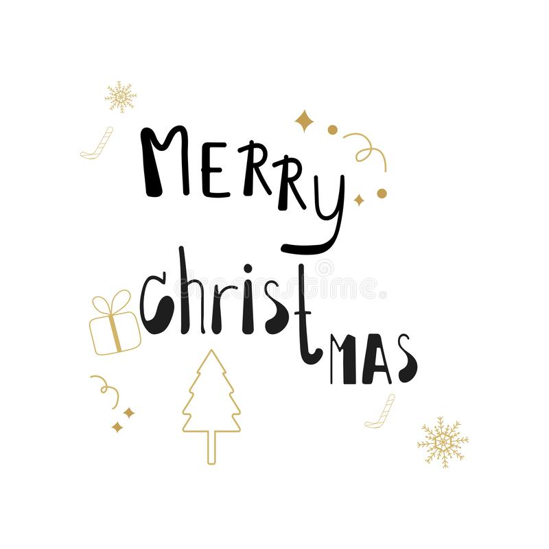 Merry christmas black hand drawn lettering with gold glitter and christmas, tree gift texture line art  on white background. Xmas vector illustration