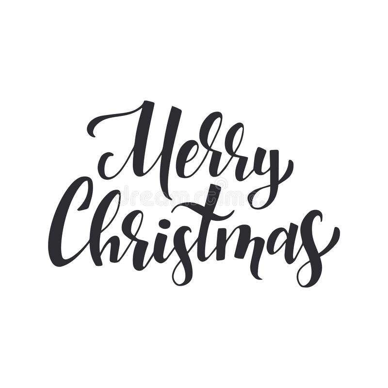 Merry christmas black ink brush lettering. Typography decoration for xmas greeting card. Vector calligraphy isolated on stock illustration