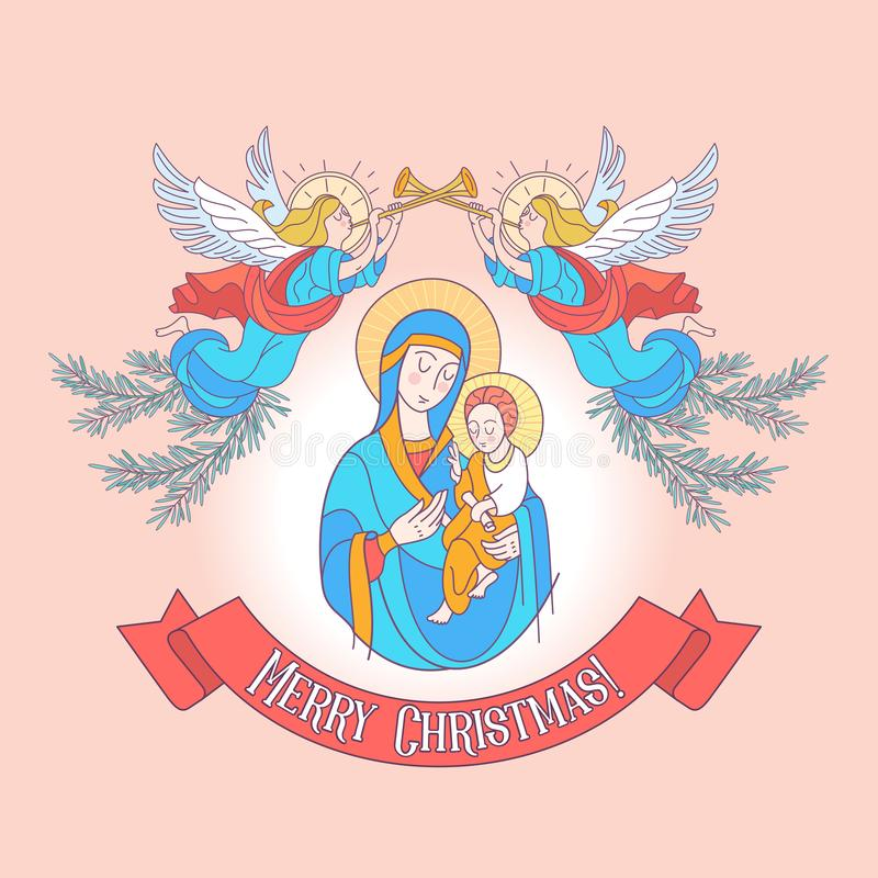 Merry Christmas. Vector greeting card. The virgin Mary and the b stock illustration