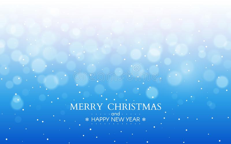 Merry Christmas blue background. Happy New Year winter design. Xmas text with snow flakes and defocused elements. Frost stock illustration