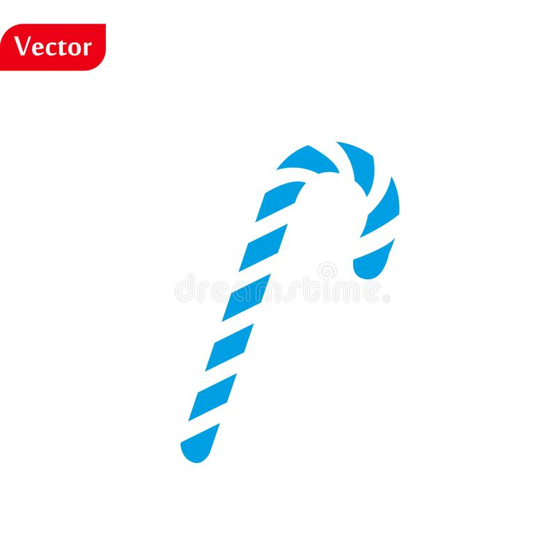 Merry Christmas blue Candy Cane. Isolated. Flat design. White background. Vector illustration stock images