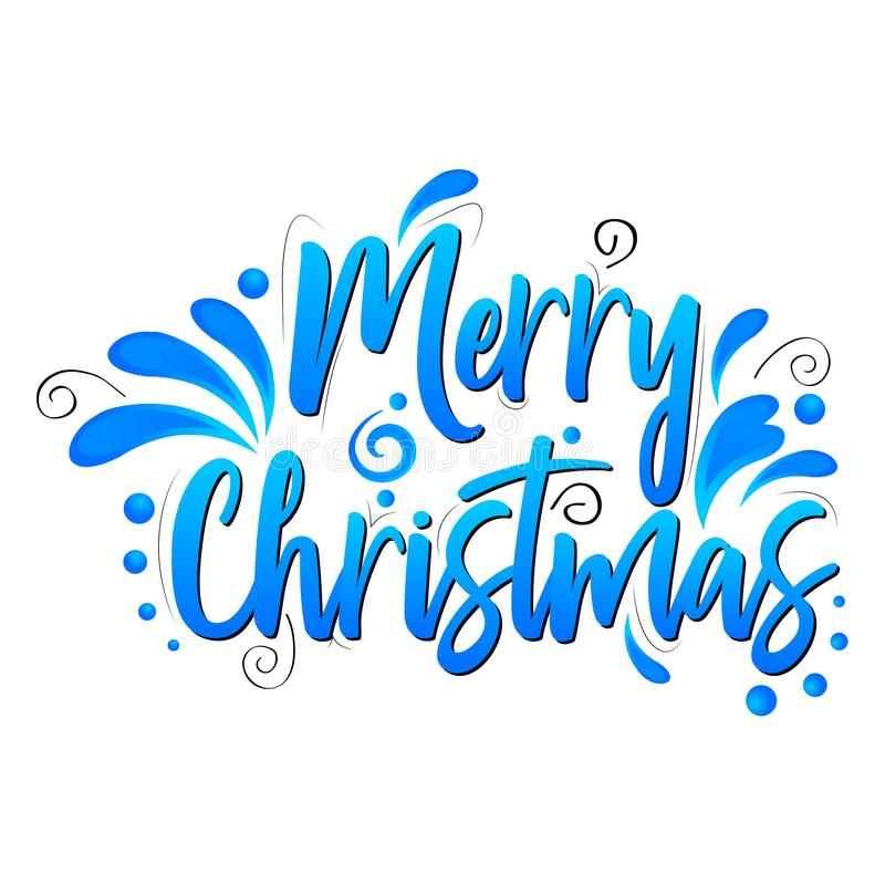 Merry Christmas lettering vector illustration on white background. Merry Christmas Blue lettering vector illustration on white background stock illustration
